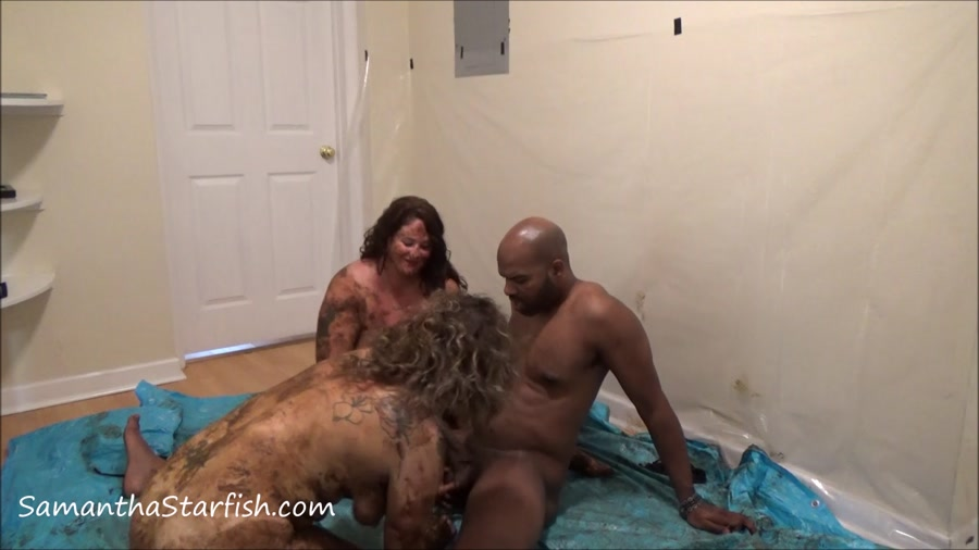 Shit Smeared Threesome - Samantha Starfish and Scat Goddes, Black Dirty Dick  [FullHD 1080p]