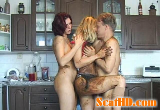 Veronika, Jana and Thomas - Dirty Scat Threesome In The Kitchen [SD]